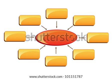 vector illustration of business chart with blank colorful block - stock vector