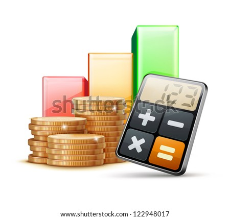 Vector illustration of business concept with finance graph, calculator and stacks of golden coins - stock vector