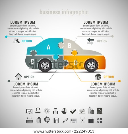 Vector illustration of business infographic with car made of puzzle. EPS10.  - stock vector