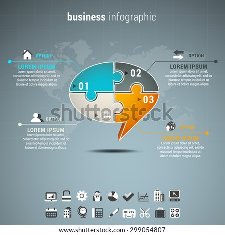 Vector illustration of business infographic with chat box made of puzzle. - stock vector
