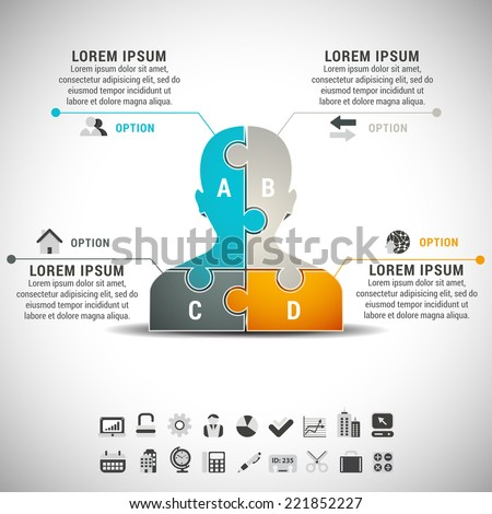 Vector illustration of business infographic with man made of puzzle. EPS10. - stock vector