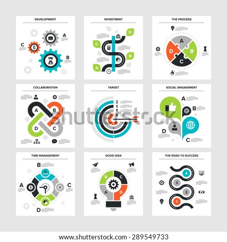 Vector illustration of business infographics on following themes - development, investment, the process, collaboration, target, social engagement, time management, good idea, the road to success - stock vector