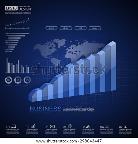 Vector illustration of business infographics,Vector illustration of 3d graph - stock vector