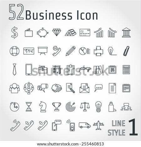 Vector Illustration of Business Line Icon Set for Design, Website, Background, Banner. Concept  Element, infographic Template. Finance Logo - stock vector