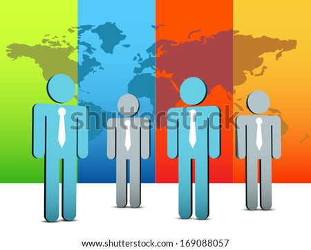 Vector illustration of business people. EPS10 file. Contains blending mode.  - stock vector