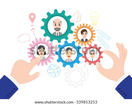 Vector illustration of business team management in flat style, Team Building concept, Vector human resource management concept - stock vector