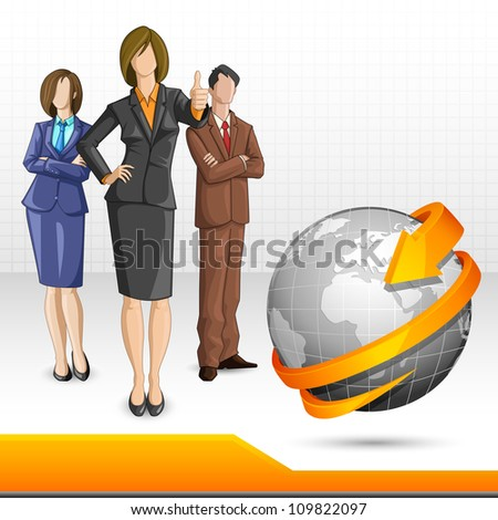 vector illustration of business team standing with globe - stock vector