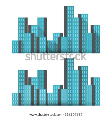 Vector illustration of business tower buildings, with two shadow settings. - stock vector