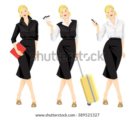 Vector illustration of business woman in formal clothes traveling with her bag. - stock vector
