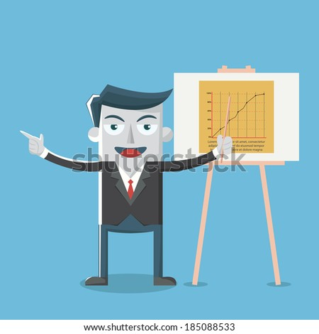 Vector illustration of businessman pointing at presentation boar - stock vector