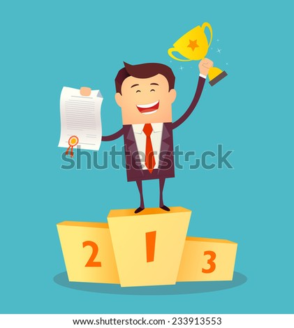 Vector illustration of businessman proudly standing on the winning podium holding up winning trophy and showing an award certificate. Flat style - stock vector