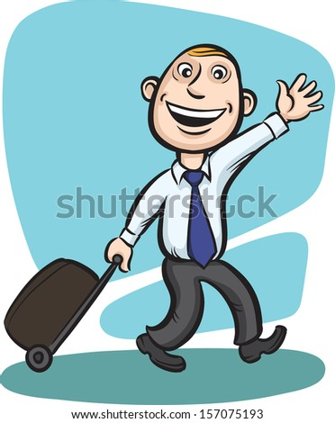 Vector illustration of Businessman walking with luggage with wheels. Easy-edit layered vector EPS10 file scalable to any size without quality loss. High resolution raster JPG file is included. - stock vector