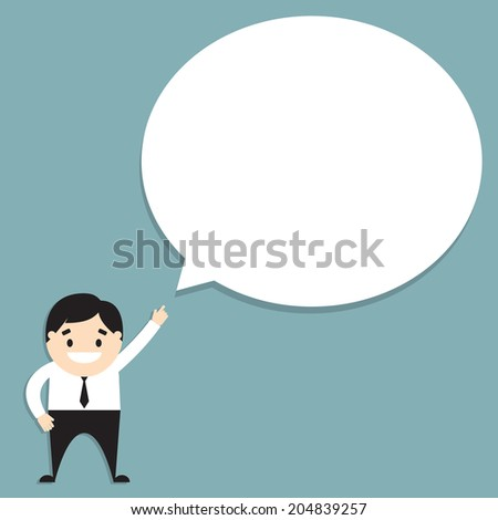 Vector illustration of businessman with speech bubble. Flat design - stock vector