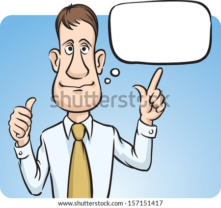 Vector illustration of businessman with speech bubble thumbs up. Easy-edit layered vector EPS10 file scalable to any size without quality loss. High resolution raster JPG file is included. - stock vector