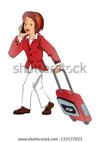 Vector Illustration of businesswoman talking on cellphone while pulling her luggage, isolated on white background. - stock vector