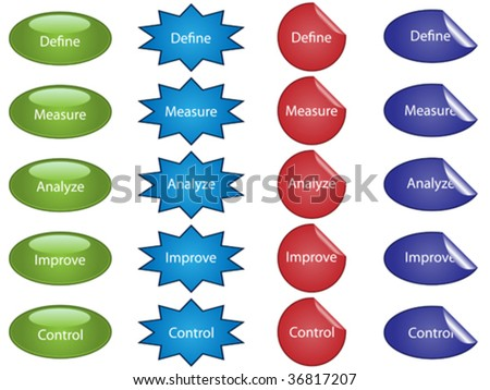 Vector illustration of buttons and stickers used for process improvement. - stock vector