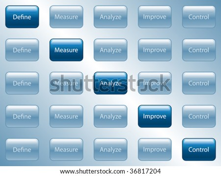 Vector illustration of buttons used for process improvement. - stock vector