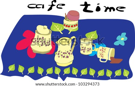vector illustration of cafe table - stock vector
