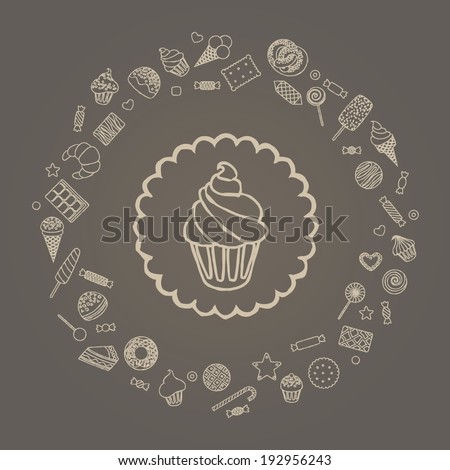 Vector illustration of cake in a round frame from sweets - stock vector
