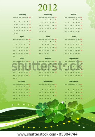 Vector illustration of 2012 calendar for St. Patrick?s Day, starting from Mondays - stock vector