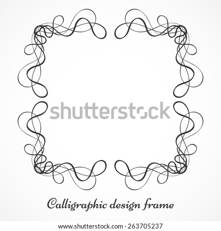 Vector illustration of calligraphic elements with swirls for page decoration borders. Black ornamental decorative frame. Perfect for your layout - stock vector