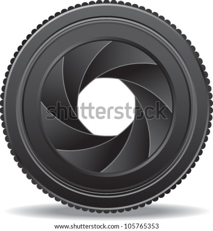 vector illustration of camera lens shutter - stock vector