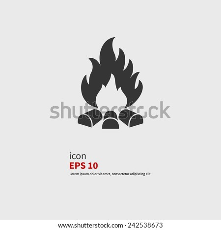 Vector illustration of campfire with firewood. Icon fire - stock vector