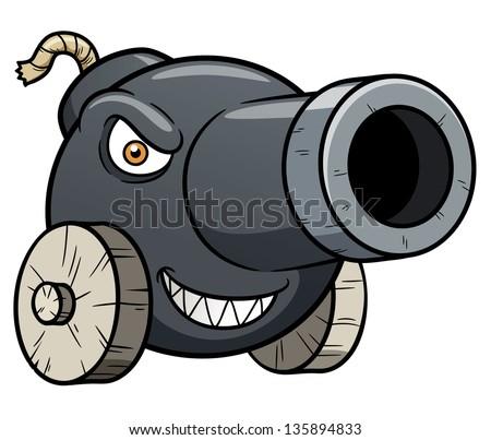 Vector illustration of cannon cartoon - stock vector