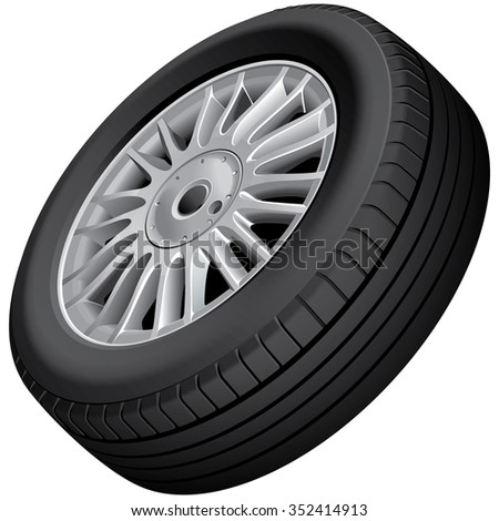 Vector illustration of car's wheel and tire, isolated on white background. File contains gradients, blends and transparency. No strokes.  - stock vector