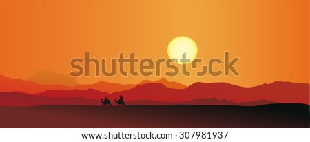 Vector illustration of caravan in a desert - stock vector