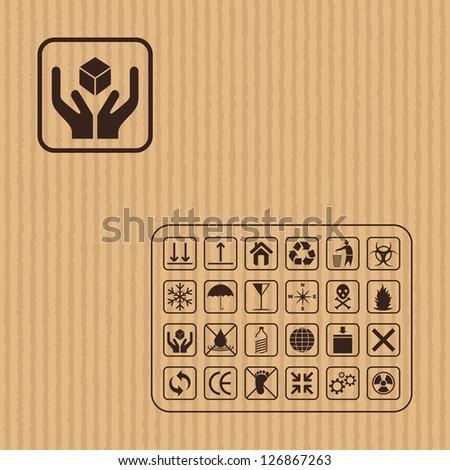 vector illustration of cargo symbol on cardboard texture - stock vector