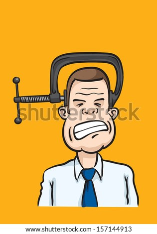 Vector illustration of Caricature businessman head clamp. Easy-edit layered vector EPS10 file scalable to any size without quality loss. High resolution raster JPG file is included. - stock vector
