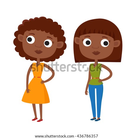Vector illustration of cartoon african american woman in casual clothes in various poses isolated on white. Curly woman in gold dress. Woman with haircut in jeans and green blouse. Elegant ladies. - stock vector