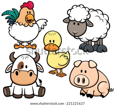 Vector Illustration of Cartoon Animals farm set - stock vector