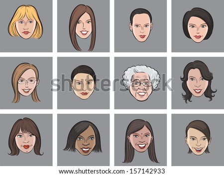 Vector illustration of Cartoon avatar beautiful women faces. Easy-edit layered vector EPS10 file scalable to any size without quality loss. High resolution raster JPG file is included. - stock vector