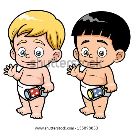 Vector illustration of Cartoon baby - stock vector