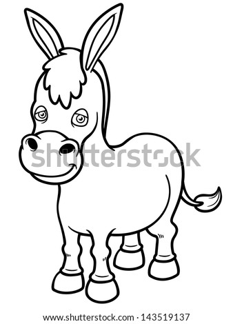 Vector illustration of Cartoon burro - Coloring book - stock vector