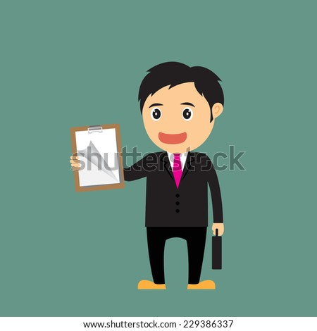 vector Illustration of cartoon businessman (boss, manager) holding clipboard for advertising and presentation. - stock vector