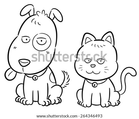 Vector illustration of cartoon cat and dog - Coloring book - stock vector