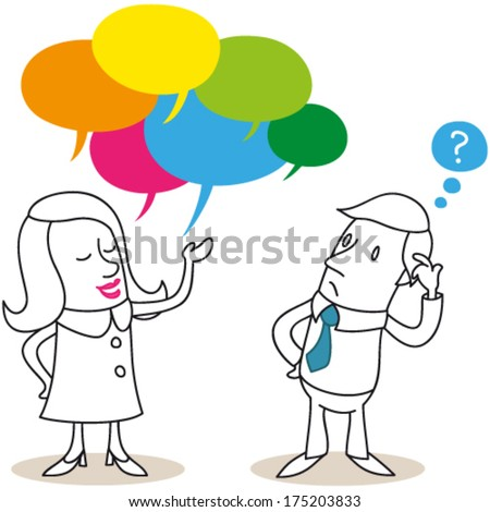 Vector illustration of cartoon characters: Conversation between a talkative woman and a clueless man. Jpeg version also available in my gallery. - stock vector