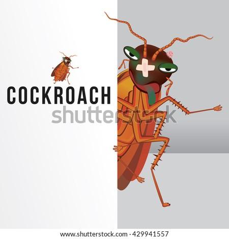 Vector illustration of cartoon cockroach. - stock vector