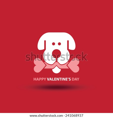 Vector illustration of cartoon dog's head with double-hearts bone - stock vector