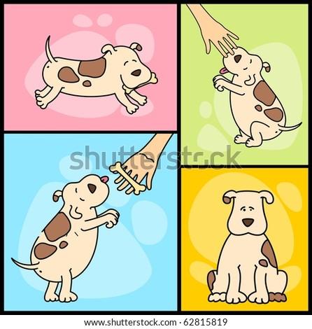 Vector illustration of cartoon dogs - stock vector