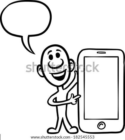 Vector illustration of cartoon doodle small person - showing on smartphone. Easy-edit layered vector EPS10 file scalable to any size without quality loss. - stock vector