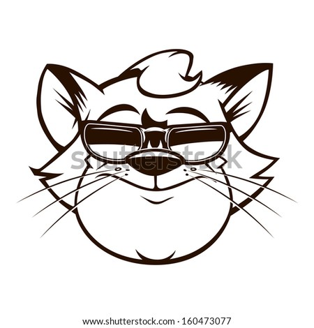 vector illustration of cartoon fat cat with the sunglasses - stock vector