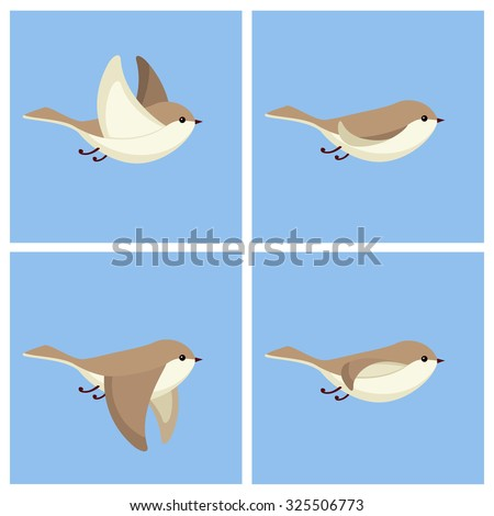 Vector illustration of cartoon flying bird animation sprite - stock vector