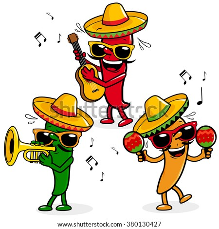 Vector illustration of cartoon fresh hot mariachi peppers wearing sombreros and playing music. - stock vector