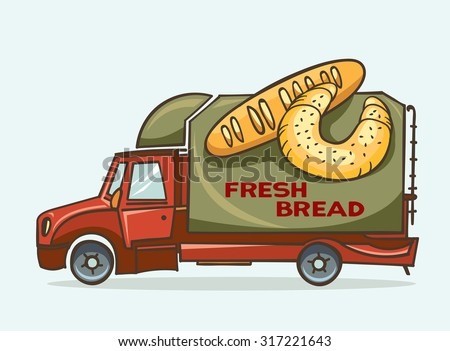 Vector illustration of cartoon green truck - delivery fresh bread and baguettes.  - stock vector