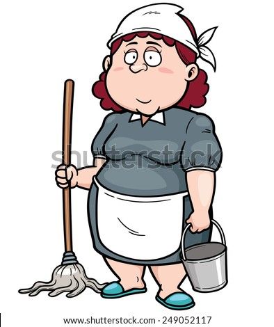 Vector illustration of Cartoon Maid with broom - stock vector