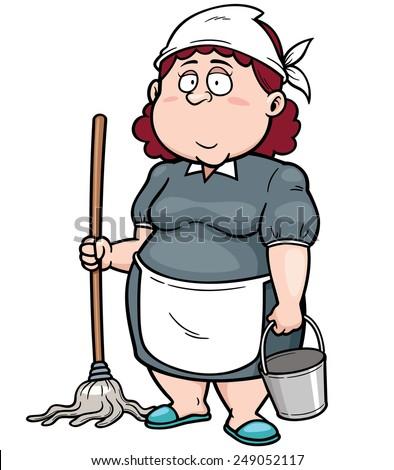 Vector illustration of Cartoon Maid with broom - stock vector